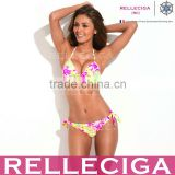 Young & Gorgeous - RELLECIGA New High Contrast Floral Blooming Pattern Push-Up Halter Top Hot Sex Girl Bikini Swimsuit