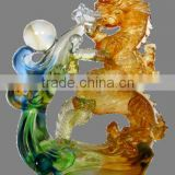 blessing golden dragon auspicious decoration liuli animal crafts