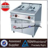 Stainless steel gas fryer with two baskets for fast food 2 Tank 2 Basket with Cabinet