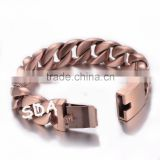 Wholesale New Hot Style 18K Rose Bracelet Jewelry Mens Womens Curb Cuban link Stainless Steel Brushed heavy bracelet B144R                                                                         Quality Choice