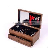 Antique high quality Retro wood jewellery box with mirror