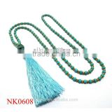 Fashion Multiple Rows Torsade Gold Turquoise Blue Small Bead Bib chain Necklace lastest designs