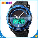 SKM013 big dial solar power watches for mensports chronograph watch skmei digital watches