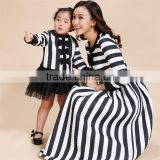 2015 Factory supply mom and kid Black and white striped dress