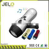 Ningbo JELO FM Radio 3LED Dynamo Torch Alarm Mobile Phone Charger Gift hand crank Flashlight