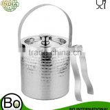 Stainless Steel Hammered Ice Bucket With Tong, 2000 ml, 18 Cms x 18 Cms x 19 Cms, Set of 2 pc