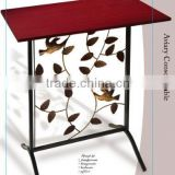 RH-4719 Hammered wood top Aviary wrought iron metal Console Table