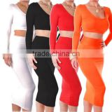 Maxi Skirt MWomens Cocktail Clubwear Party High Waisted Long Sleeve Bodycon Bandage Dress Long Skirt Size :M