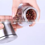 Premium Stainless Steel Salt and Pepper Ceramic Grinder Mill Set. High Strength Glass Body