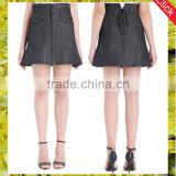 Latest stretch raw black denim high waisted flared skirt a line short skirts for women