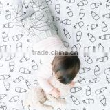 120cm*120cm nursing bottle design knitted organic cotton bamboo gauze baby muslin swaddle