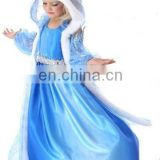 fashion long sleeve frozen elsa dress cape frozen elsa dress fabric elsa costume FC2019