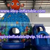 Charming ocean theme inflatable fish combo bouncy castle ID-CB099