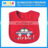 100% Cotton Embroidered Waterproof Infant Bibs Red Car design