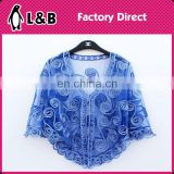 2016 ladies Cover-Up Tops polyest lace blouse Flower elegant women navy blue lace blouse