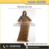 High Quality Beautiful Brown Printed Kaftan Available at Factory Price