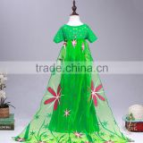 2016 New Arrive Frozen Style Green Elsa Dress for girl Princess Queen Anna Fancy Dress
