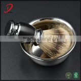 badger hair shaving brush with metal shaving bowl , stainless steel shave soap bowl and shave brush