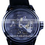 leather band mens skeleton watch