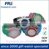 rotational case mixing color silicone watch with safe stainless buckle contrast color rubber watch