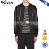 Wholesale Mens Black Twill & Leather Bomber Jackets