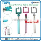 2014 New Arrival!!Clear Crystal Adjustable ball head selfie stick for Best Christmas Gift