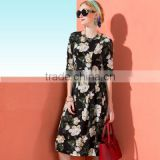 designed half sleeve midi length one piece floral printed silk dress
