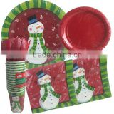 Christmas Snowman Disposable and Holiday Party Snowman Dinner Plates Dessert Plates Paper Cups Paper Napkins Spoons Forks Knives