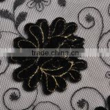 2014 design floral velvet applique gold thread embroidery lace for girl dress