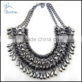 New Design lady Women bib statement black acrylic bubble crystal chunky necklace