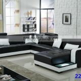 Living room sofa leather modern black and white 2211