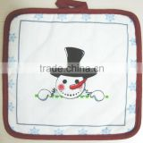 christmas design little snow man printed cotton pot holder for promotion and kitchen