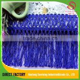 [NTSUNRISING]Luxe rayon 9CM 100% polyester polish blue silk fabric fringe lace trim for dancing dress,curtain