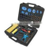 Automotive body dent repair set, with slide hammer and puller