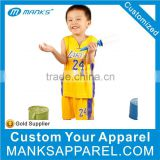 New Design Yellow Basketball Jersey For Kids