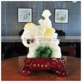 Resin white jade color monkey in the elephant statue ,chinese zodiac statue