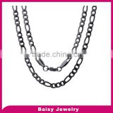 china products prices 4mm black plated Men's stainless steel Figaro chain necklace wholesale