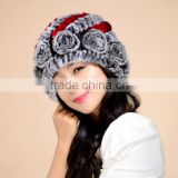 Good Quality Lady Knitted Rabbit Fur Caps and Hats For Winter                                                                         Quality Choice