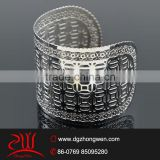 wholesale italian jewelry custom stainless steel hollow design open cuff bangel