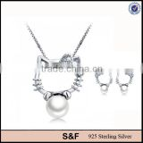 Lovely Cat Shaped Pearl 925 Sterling Silver Jewelry Sets