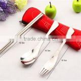 New Stainless Steel Fork Spoon Chopsticks Camping Portable Bag Picnic Tableware Dinnerware