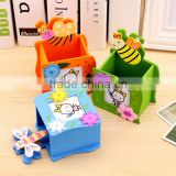 Lovely wooden pen container with photo frame / cartoon pen holder