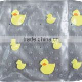 Eco-Friendly Transparent duck PVC Bath Mat Waterproof, Plastic Bathroom Mat With Suction