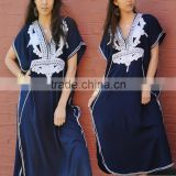 Bohemian Navy Blue Silver Boho Resort Turkey Caftan Beach Wear Dubai Abaya Kaftan Dress HSd5057