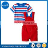 (2 Pieces Set) Baby Overall Garment with Stripped Style Tee shirt Suitable for European and American Produced in Quanzhou