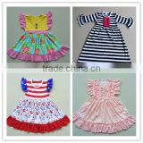 children flutter long sleeves fall dress baby girl frock design ruffle cotton dress clothing sets