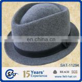 mens 100% wool felt dress hat, stingy fedora hat