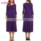 Fashion New Long Sleeve Casual Purple Party Midi Dresses Fat Women