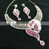 Beautiful Pink Color Shell Shaped Gold Plated American Diamond Jewelry Necklace Earrings Set