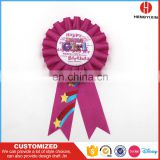 High quality handmade award ribbon rosette/ribbon flower/ribbon rosette badge for brithday gift